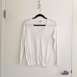 J. Crew White V-neck Sweater S